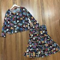 David Pond 3 Piece Skirt Jacket Set Sz 14 Colourful Floral Arty Lettuce Hem EC