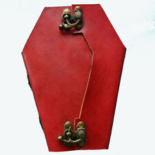 Red Handmade Leather Coffin Journal With Lock Grief n Mourning Memento