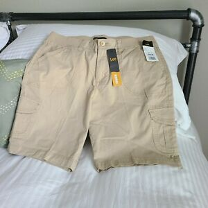 LEE Women's Bermuda Cargo Shorts Sz 12 Medium Relaxed Fit Knit Waist Khaki