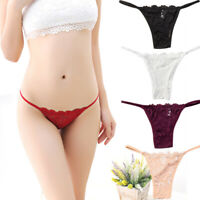 3Pack Sexy Women Lace V-string Briefs Panties Thongs G-string Lingerie Underwear