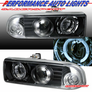 Set of Black Halo Projector Headlights for 1998-2004 Chevrolet S10 and Blazer