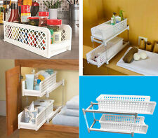 PORTABLE 2 TIER BASKET DRAWERS KICTHEN AND BATHROOM STORAGE CABINET REMOVABLE
