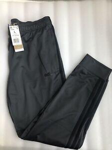 ADIDAS Mens Gray And Black Track 3 Stripe Jogging Zip Pockets Pants Large L