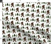Bigfoot Sasquatch Forest Trees Squatch Squatchy Spoonflower Fabric by the Yard