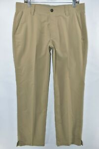 Under Armour UA Match Play Golf Loose Pants Mens Size 36x30 Khaki Meas. 34x30.5
