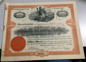 Twelve (12) Peoples National Bank. Stewartstown, PA Stock Certs.