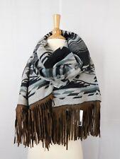 Steve Madden River Rock Oversize Tribal Faux-Suede Tassel Blanket Wrap #920