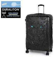 IT Luggage Tiger Emboss Crystal Eyes Cabin 54cm Hard Black Suitcase TSA Lock