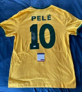 Brazil PELE Signed Soccer Shirt / Jersey COA & Hologram PSA DNA Autograph