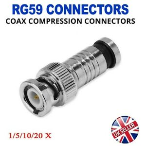 CCTV BNC Compression Connectors Coax Cable RG59 Crimp Male Plug For CCTV Camera