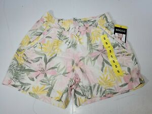BRIGGS Ladies Linen Blend Pull-On Floral Short Pink Yellow Size Small NWT