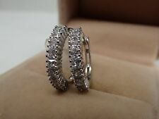 Ladies 14ct 9ct White Gold GF Lab diamond 15mm Small Hoop Huggies Earrings