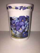 "Marjolein Bastin Crock Vase Pansies Pansy 6"" Tall Flowers Hallmark"