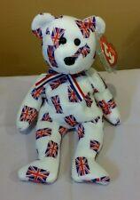 Ty Beanie Baby JACK the UK Flag Bear w/Black Nose, Retired & New