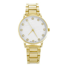 Lady's Women's Luxury Cz Iced Gold Plated Metal Watches with Pouch Wm 1556 G