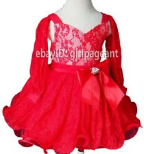 Infant/toddler/baby Red Lace Long Sleeves Pageant Dress 2T G271-2