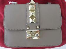 Valentino Rockstud Garavani Nude Calfskin Leather Rockstud Lock Middle Flap Bag