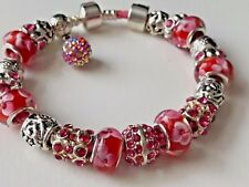 Pink Leather Charm Bracelet With Murano Glass and Tibetan Silver Sliding Beads