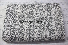 Handmade Grey Kantha Quilt Cotton Indian Bedspread Floral Throw Blanket Lot 5 Pc