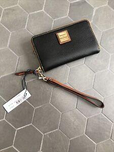 NWT Dooney & Bourke Zip Around Pebbled Leather Wristlet Black  $128