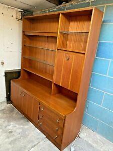 Vintage Teak Wall Unit Cocktail Display Cabinet Sideboard Drawers Cupboards