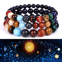Natural Stone Eight Planets Bead Bracelet Universe Chakra Men Women Bangle