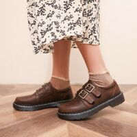 Vintage Womens Flats Shoes Buckle Japanese Round Toe Loafers Casual Comfort