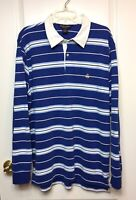 BROOKS BROTHERS Blue Striped Long Sleeve Performance Knit Polo Mens Shirt LARGE