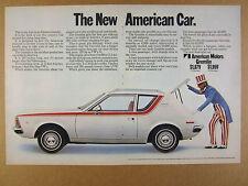 1970 AMC Gremlin 'The New American Car' uncle sam photo vintage print Ad