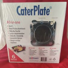 CaterPlate All-in-one Plate Cutlery Wine Glass Holder Pack 6 Plates NEW SEALED