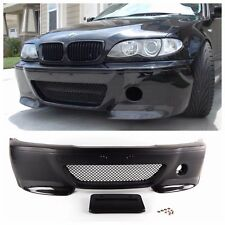 POLYPROPYLENE CSL STYLE FRONT BUMPER W/ CARBON FIBER SPLITTERS FOR BMW E46 SEDAN
