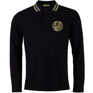 Versace Jeans Men's Black Pique Long Sleeve Polo with Gold Trim