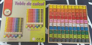 Table de calcul avec cubes en bois additions