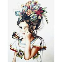 Full Drill Diamond Painting 5D Girl With Flowers DIY Cross Stitch Home Decors