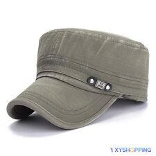 Fashion Mens Adjustable Classic Army Plain Hat Baseball Cadet Military Sport Cap