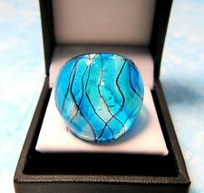 Sea Blue & Black Loose Plaid on Silver & Gold Foil Hand Blown Glass Ring sz 7.50