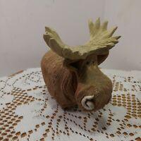 Vintage Hand Craved Artesania Rinconada Moose. Made In Uruguay