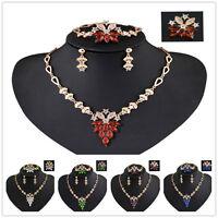 Fashion Vintage 18k Gold Wedding crystal women Lady necklace earring Jewelry set