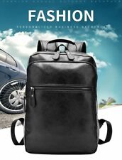 Men Business Casual Backpacks For School Travel Bag Black Leather Men's