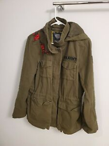 Vince Camuto Olive Green Field Army Military Jacket Size L Embroidered Flowers
