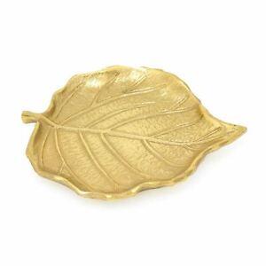 Elegant Gold Metal Leaf Trinket Dish    Display Vanity Tray   Jewellery Plate