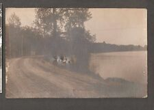 Vtg Postcard At The Curve Lake Zurich ILL RPPC IL Illinois 1920's