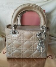 Christian Dior Lady Dior Cannage Rhinestone Mini Hand Bag Champagne Satin Purse