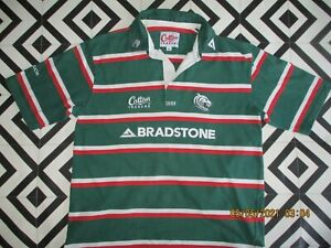 MENS 90S VINTAGE COTTON TRADERS RUGBY SHIRT HIPSTA GC XL LEICESTER TIGERS