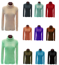 Cable Knitted Polo Roll Full Neck Blouse Sweeter