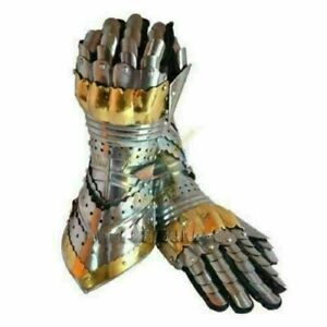 Knights-Armor-Pair-Brass-Accents-Gauntlet-Steel-Gloves-Medieval-Knight-Crusader