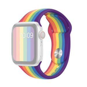 Apple Watch 1 23/32in/1 21/32in Rainbow Silicone Bracelet
