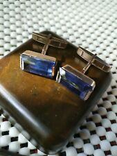 cufflinks USSR, with synthetic sapphire,silver plated, vintage old, beautiful