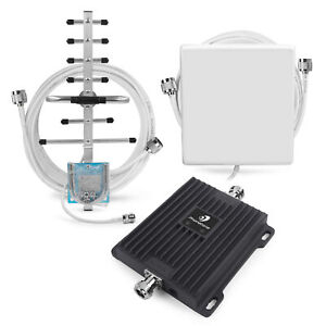 2G 3G Mobile Phone Signal Booster 900/2100MHz 65dB Network Repeater Antennas Kit