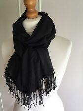 BNWOT black pashmina wrap scarf stole with tassels